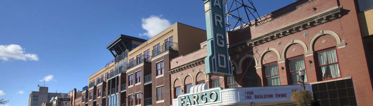 Image of downtown Fargo, ND, including the historic Fargo Theater