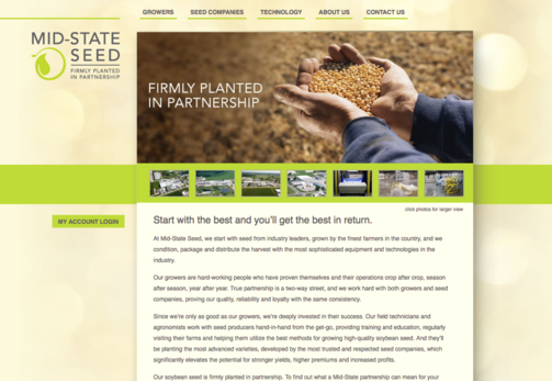 "Screenshot of homepage of Mid-State Seed, a Marshall, MO-based seed company. Fredricks Communications created the company's tagline - ""Firmly Planted in Partnership"" - and wrote its homepage content."