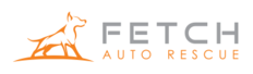 Logo for Fetch Auto Rescue, a Fredricks Communications client that provides its members roadside assistance and other driving-related benefits. Logo includes company name.