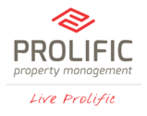 Logo for Prolific Property Management, West Fargo, ND. Fredricks Communications worked with the company's lead marketing consultant to develop a concept and content for a series of leave-behind, lead-generation postcards.