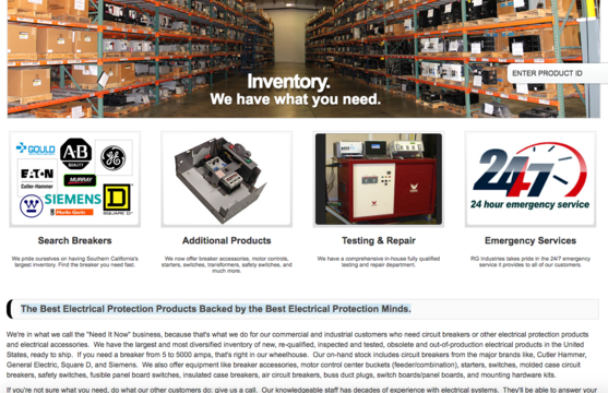 Screenshot image of the RG Industries homepage, which includes SEO content developed by Fredricks Communications.