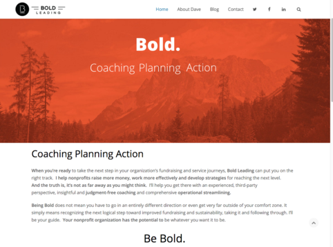 "Screenshot of homepage for Bold Leading, an executive coaching business for non-profit leaders based in Grand Forks, ND. Fredricks Communications helped create the organization's tagline, ""Be Bold,"" and wrote SEO content for its website."