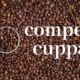 "coffee beans superimposed with words ""comped cuppa"""