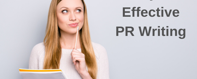 "Image of woman thinking. Words next to her are: ""5 Keys to Effective PR Writing"""