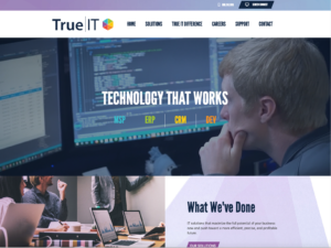 Screenshot of the homepage for Fredricks Communications client True|IT