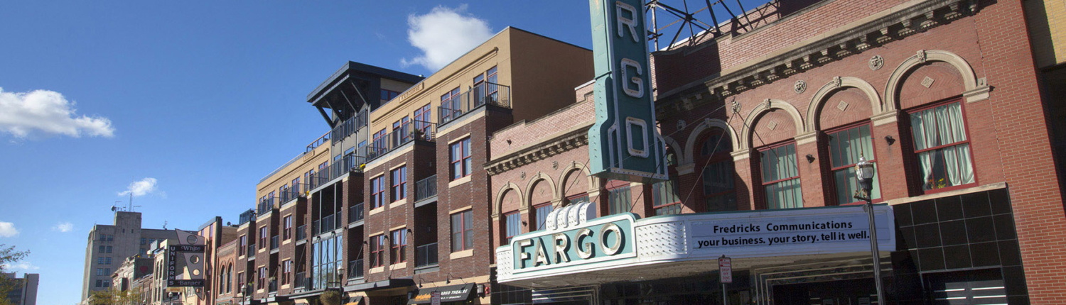 Fredricks Communications plus tagline on Fargo Theater marquee