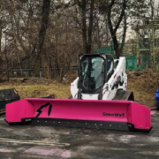 SnowWolf customer Danmar Construction and Landscape Design owns a pink QuattroPlowdscape