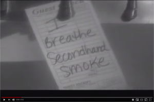 "Screenshot from 30-second TV spot, ""Order Up,"" an ad against secondhand smoke exposure"