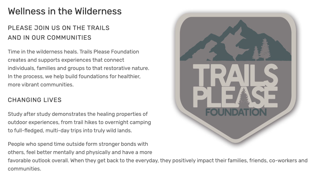 Screenshot of Trails Please Foundation website copy, copywriting Fredricks Communications